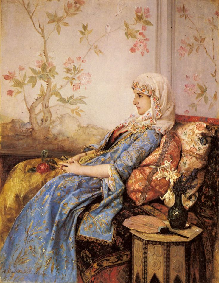 "Auguste Toulmouche (1829-1890) was a French painter born in Nantes. ~ ""An Exotic Beauty in an Interior"""