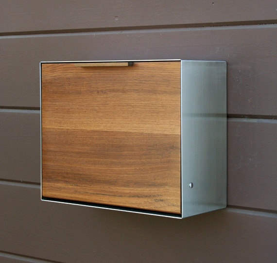 Modern Post Mounted Mailbox,  Teak and Stainless Steel Mailbox,  Post or Wall Mounted mailbox. $550.00, via Etsy.