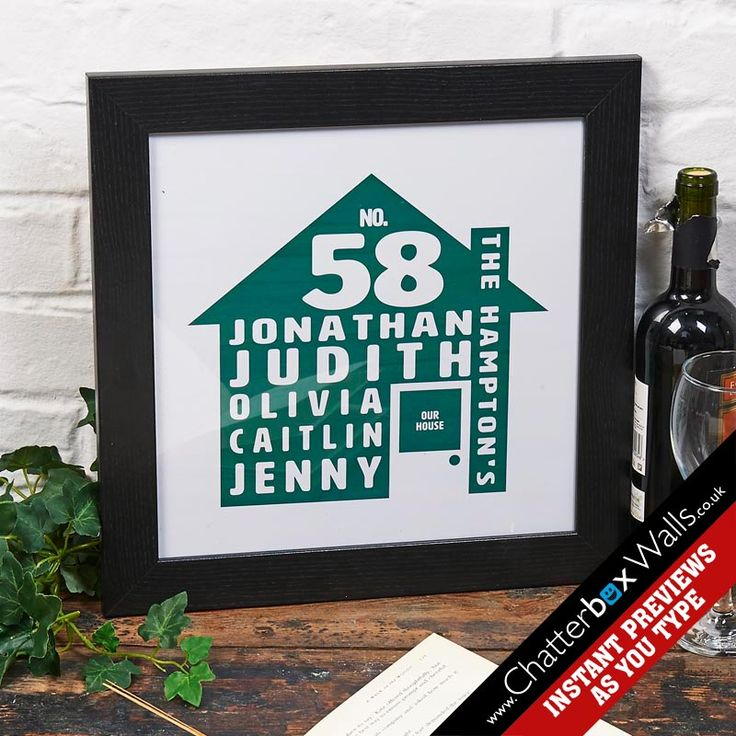 Personalised House print with words