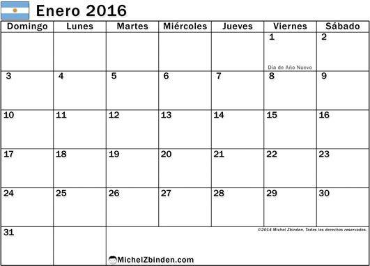 calendario enero 2016 para imprimir gratis Días feriados en Argentina domingo