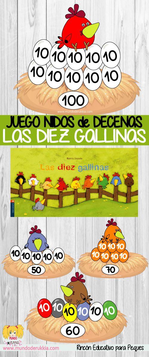 cuento las diez gallinas de Sylvia dupuis, aprender los colores, actividad conteo, fichas números, como trabajar la decenas, juegos decenas, decenas y unidades, decenas abn, decenas y unidades, fichas infantil, fichas primaria, preescolar, juegos niños, actividades maestras, recursos maestras