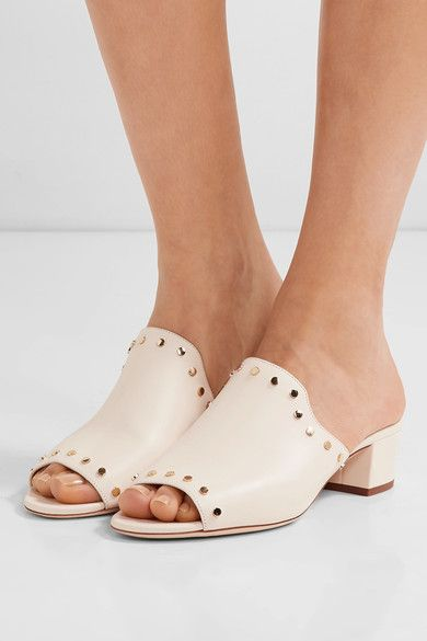 Heel measures approximately 35mm/ 1.5 inches Cream leather Slip on  Made in Italy