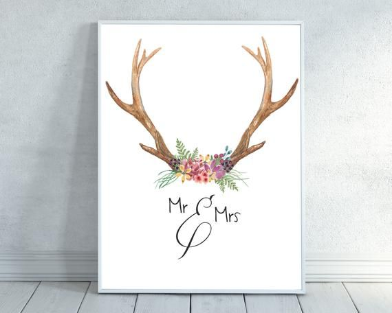 Watercolour Ampersand Corner /& And Quote Print