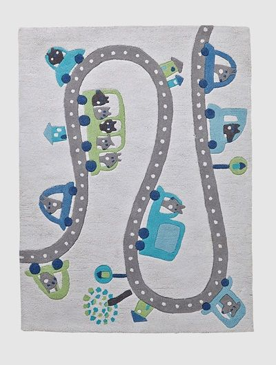 This 2-in-1 rug is great for keeping kids feet warm when they're playing with little cars as if on a real road circuit!  SIZE: 100 x 133 cm.   100% tufted cotton with a slightly textured appearance.   Handmade   Motifs of cars, roads and houses.    WHAT YOU NEED TO KNOW:   Made from natural cotton fibres. We recommend vacuuming several times prior to use.    Surface wash.  Complements the ROAD TRIP bedroom theme. ;