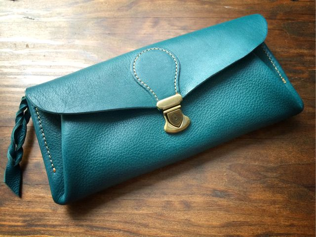 【即納品可能】長財布 「series-envelope」国産オイルヌメ革*瑠璃色 | ハンドメイドマーケット minne