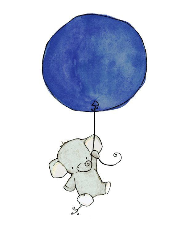 Children's Art -- Flying High Elephant Navy Blue Balloon 8x10 -- Art Print, via Etsy.