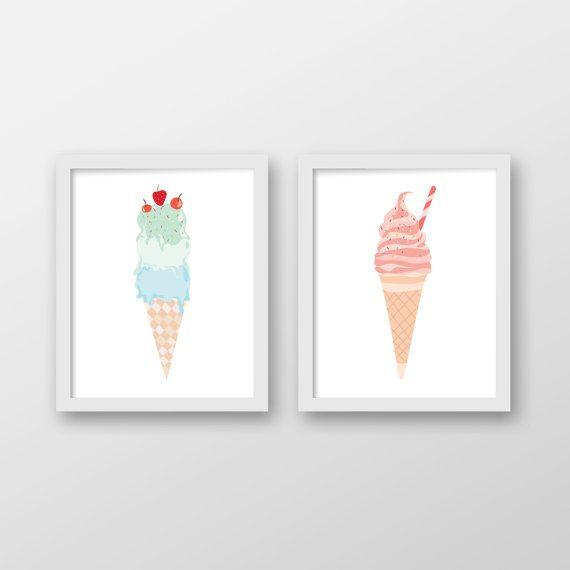 Ice Cream Art Print Set of 2 - Wall Art - Office Decor - Home Decor - Kids Room Decor