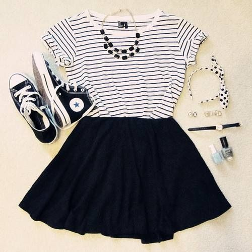 Cute black pleated skirts with top black , white stripes short sleeve tee blouse and cute soft shoes and black stones necklace and fashion tips things the best teenage fashion trend