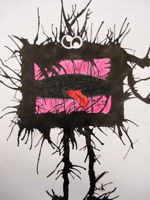 take black ink, apply a blob (with a paintbrush) to a sheet of cardstock and blow it into a pattern with a straw. Then you turn that 'shape' into a little creature or monster, using fine tip black permanent markers and colored markers for details.