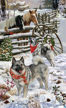 "Norwegian Elkhound Christmas Cards ""Welcoming Committee"" -- by M. Sweeney"