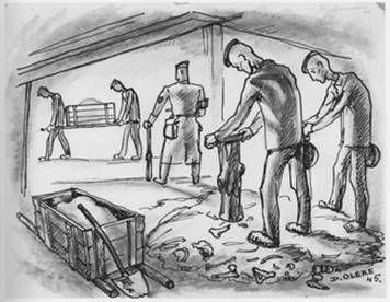 dessin David Olère Sonderkommando crématoire os Knochenstampfer Auschwitz Birkenau