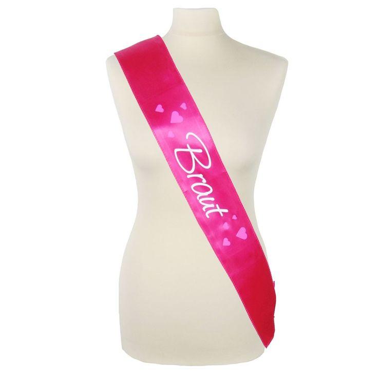 Hübsche Braut-Schärpe für den JGA - Pink - mit Herzen