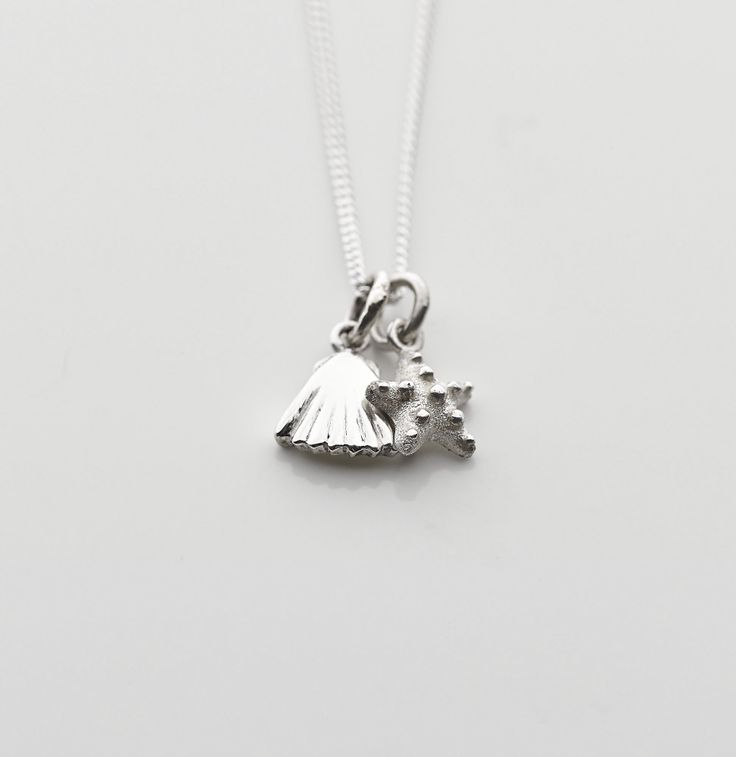 Sterling silver mini shell and starfish pendant