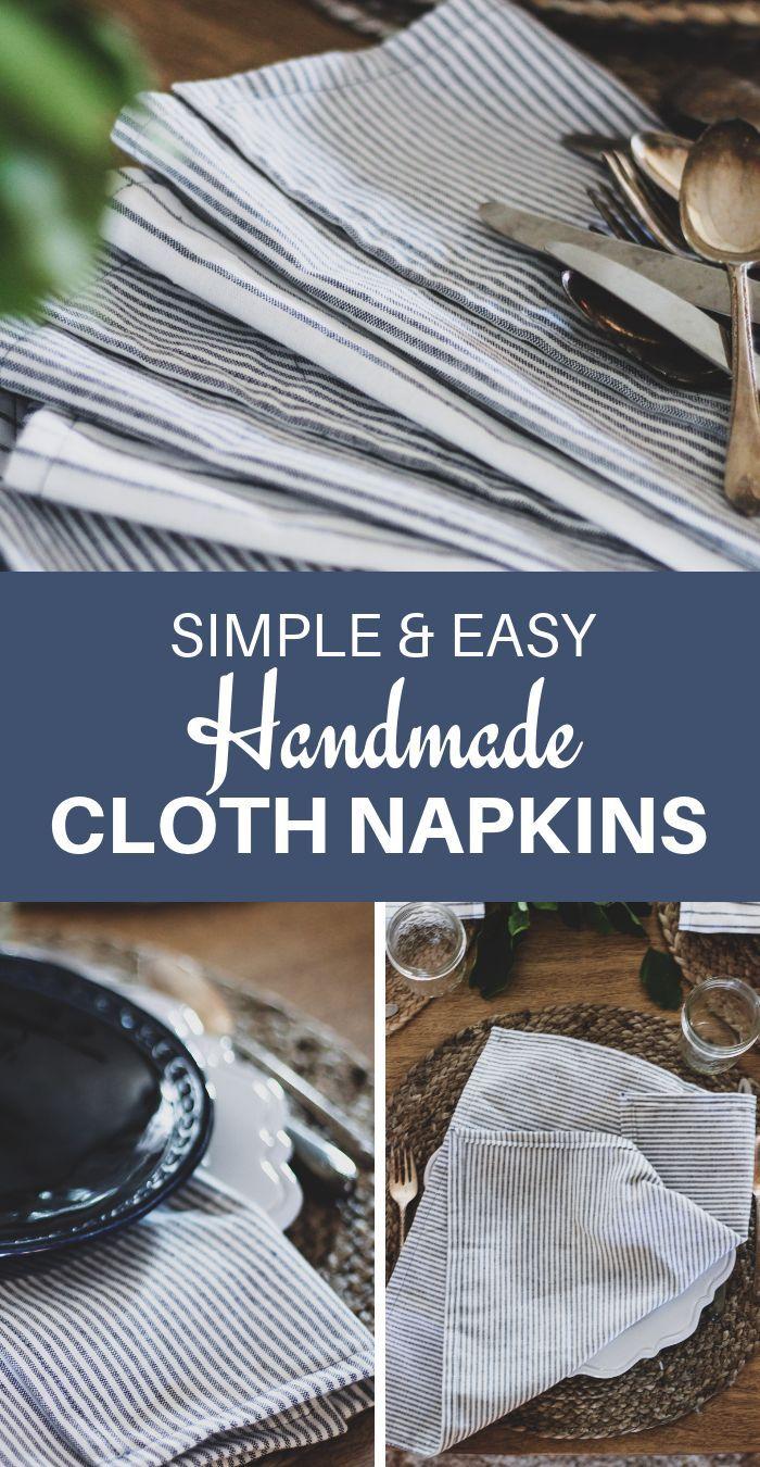 How to Sew a Napkin – DIY Cloth Napkins Tutorial –   – Nähen