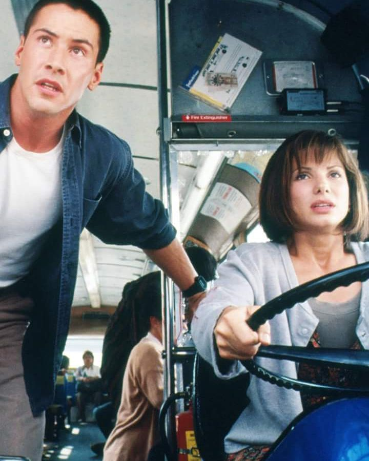 Keanu Reeves e Sandra Bullock em Velocidade Máxima/ Speed 1994  www.ladyhollywood.com.br