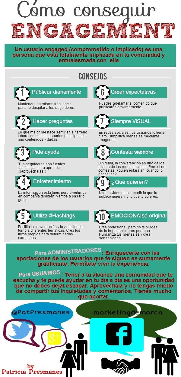 10 consejos para aumentar en engagement en Redes Sociales #infografia #infographic #socialmedia
