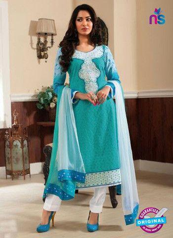 Rivaa14706A - Blue & White Color Cotton Designer Suit
