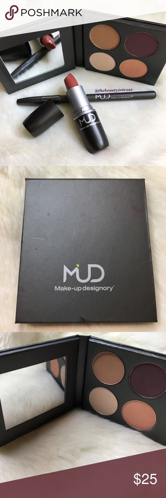 ✨MUD cosmetics eyeshadow palette✨ MUD cosmetics eyeshadow palette is most definitely a one of a kind eyeshadow palette. The colors not only compliment each other but are so rich with pigment! Paring these together give the perfect look! MUD Cosmetics Makeup Eyeshadow