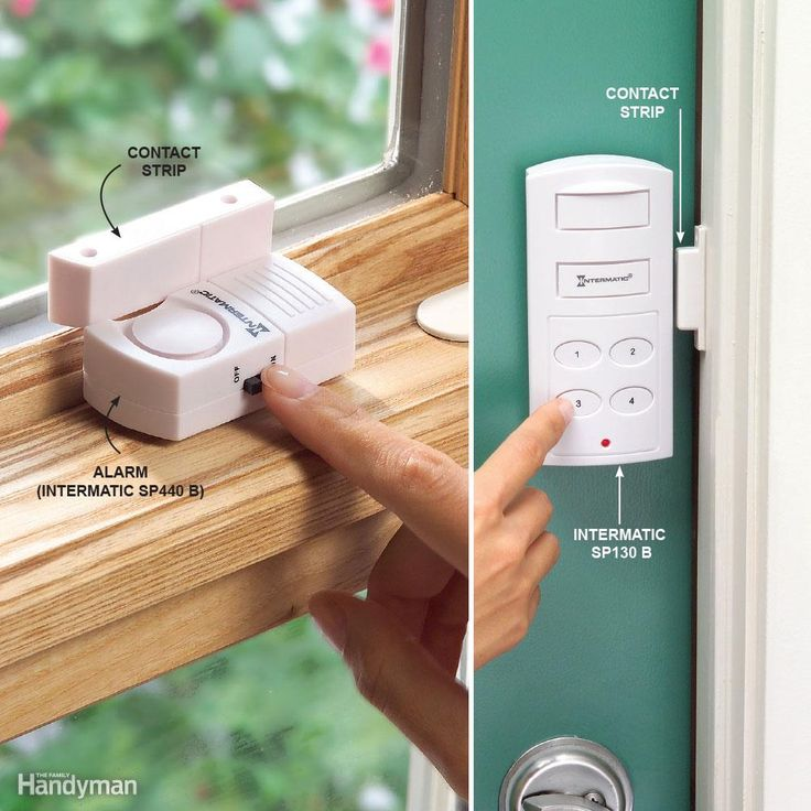 Keeping doors and windows locked is your first line of defense. Make wireless alarms your second. Burglars hate noises, so even a small alarm usually sends them running. The alarms are available at home centers. Or check out Intermatic or Door and Window Alarms. The alarms don't provide the same security as pro-installed monitored systems since the wireless devices are activated by doors or windows opening (not glass breaking). Use the alarms for doors and windows in