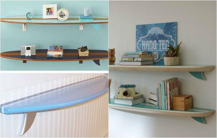 planche de surf transformé en une étagères murales