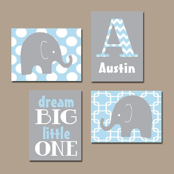 Baby Boy Nursery Wall Art Baby BOY Elephant Wall Art Baby Blue Boy Elephant Nursery Boy Bedroom Canvas or Prints Nursery Dream Big Set of 4