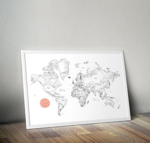 Carte du Monde dessinée à la main grande carte par BalticClub