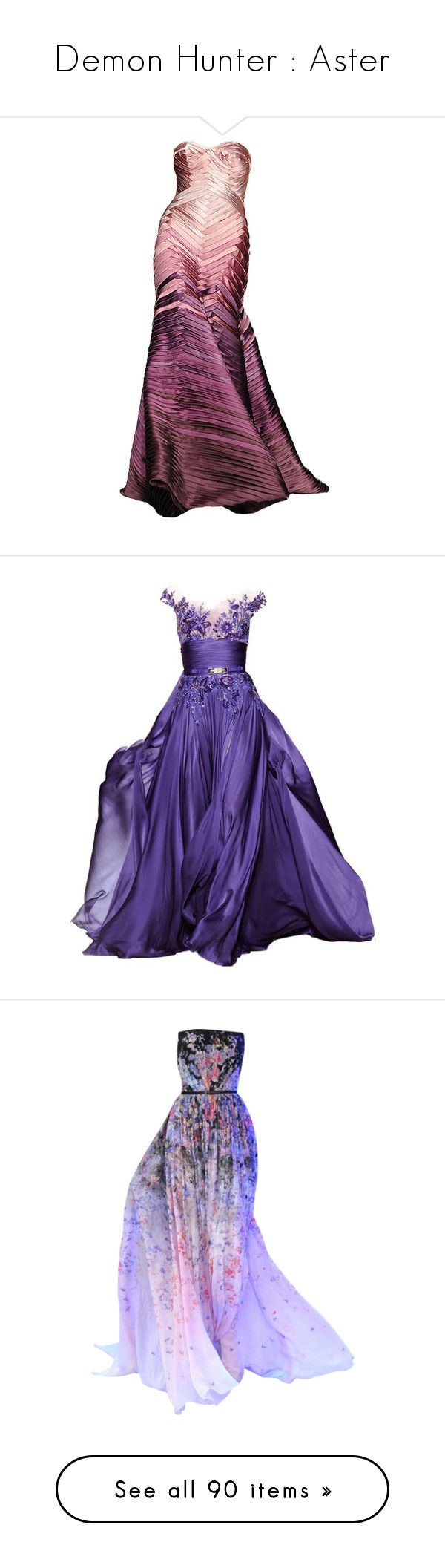 """""""Demon Hunter : Aster"""" by bodaciousbasil ❤ liked on Polyvore featuring dresses, gowns, long dresses, vestidos, purple dresses, purple evening dresses, purple evening gowns, purple gown, purple and elie saab"""