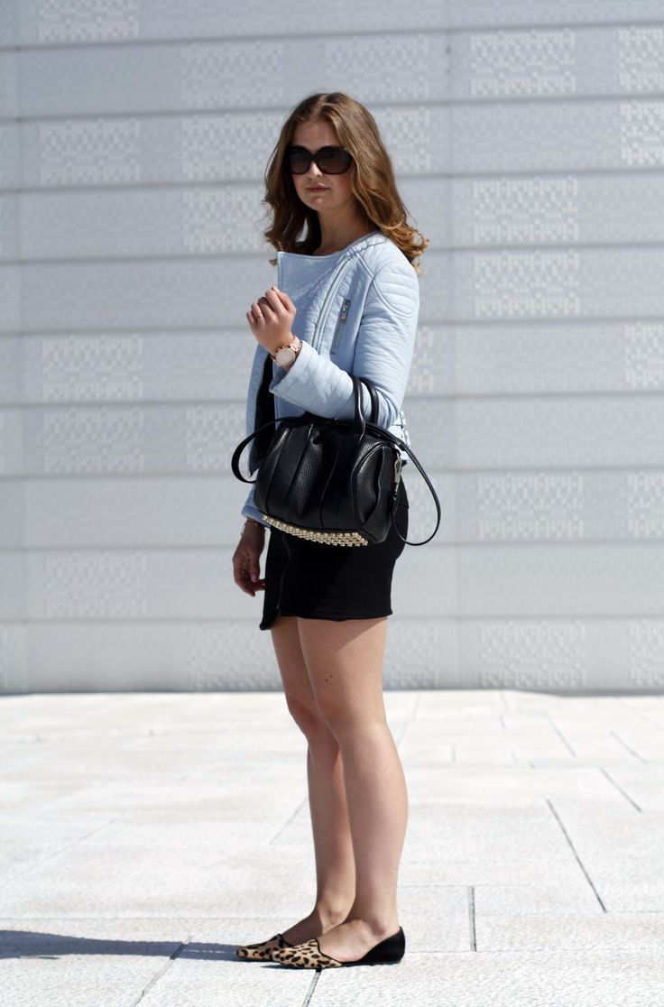 Black & baby blue #zara jacket #alexanderwang bag #helmutlang skirt and tee #stevemadden shoes #chanel sunglasses #michaelkors watch #ELLINORSANDE