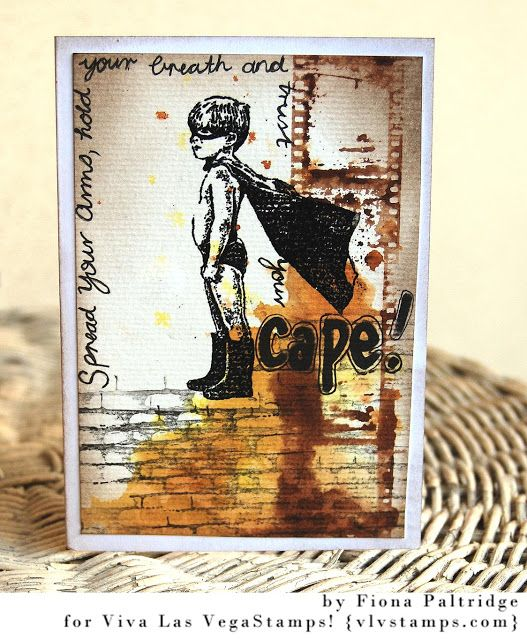 One of our most popular stamps ever -- Boy in Cape makes an appearance on this awesome masculine themed card by Fiona Paltridge - rubber stamps from vlvstamps.com