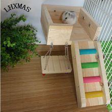 3 pçs/set Poleiros de Madeira Pet Rato Hamster Toy Ladder Balanço Prateleira Brinquedo Do Esquilo Para Gerbil Rat Gaiola Chinchila Acessórios D175(China (Mainland))