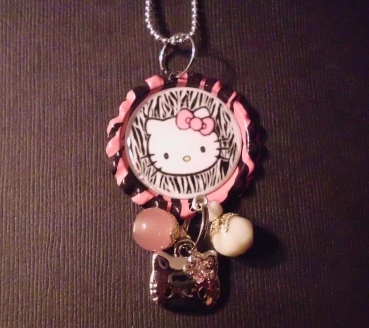 Kitty Bottle Cap Charm Necklace 1