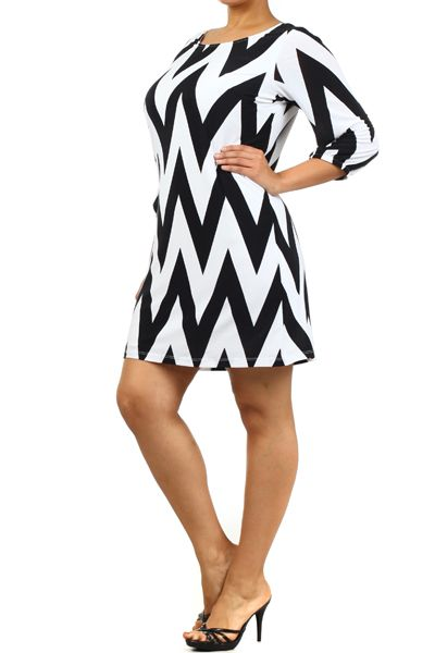 Junior Plus Size chevron print dress | Details about WOMEN PLUS SIZE CHEVRON PRINT SHIFT DRESS Zig Zag 3/4 ...