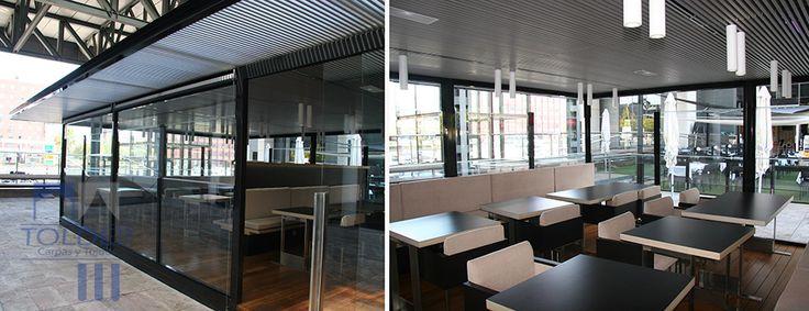 Pérgola para la terraza del Restaurante Hamburguesa Nostra. Se trata de una estructura con los cuatro  lados totalmente cubiertos. En uno de ellos tiene una puerta fija o corrediza que nos permita salir y entrar. El techo es fijo e impermeable.