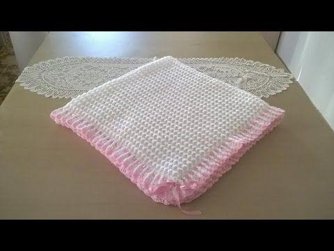 Manta para bebé en crochet o ganchillo - YouTube