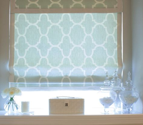Roman shade in bathroom custom designed just for Mom -Karen Davis Design