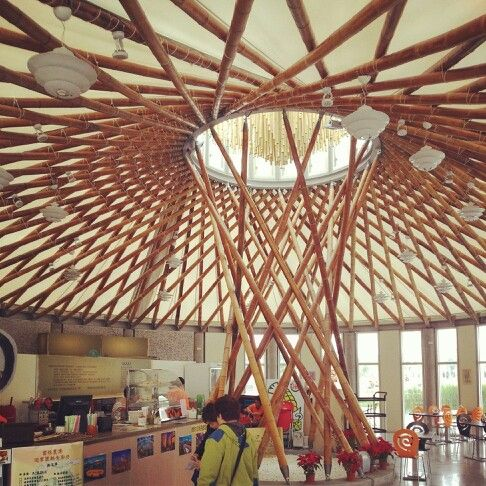 Bamboo structure in taiwan agriculture expo estructuras for Bamboo roofing materials