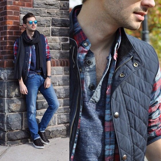 Aaron Wester - Club Monaco Quilted Vest, Grayers Henley, Club Monaco Cashmere Scarf - Fall Layers