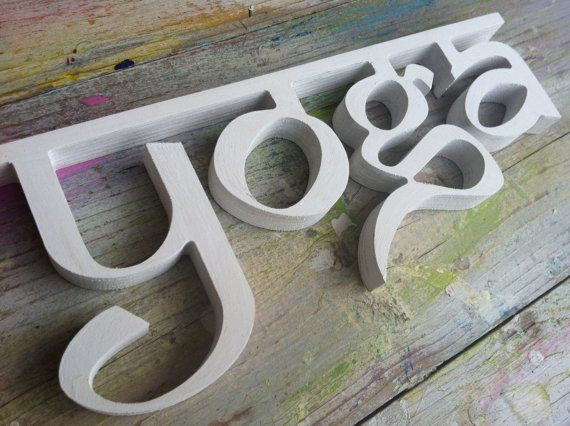 wall decor yoga sign wooden letters pilates and yoga by SunFla, $25.00
