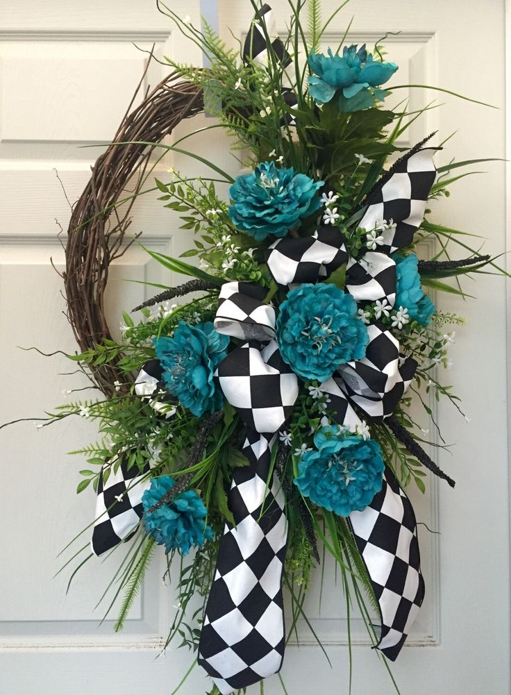 Everyday Turquoise And Black Oval Grapevine Wreath By