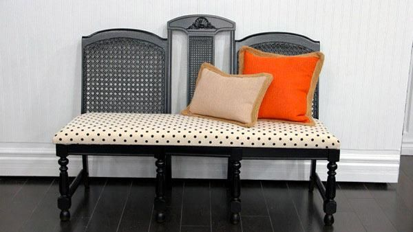 for creating a bench out of ugly old dining room chairs: paint chairs ...