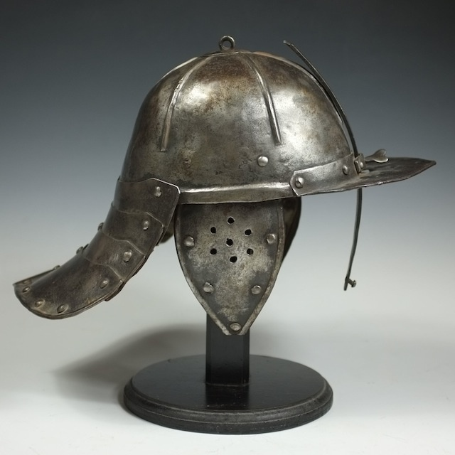 English Civil War era Cromwellian lobster tail helmet circa 1650.