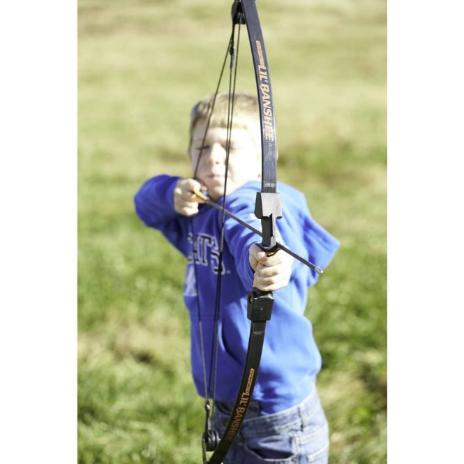 The Barnett Lil Banshee Jr. Archery Set is ideal for a young girl who has an interest in archery. Included in this kids' archery set is a pink compound bow with sight pins to help in aiming and a finger tab for comfortably drawing back the string. This Pink Barnett Archery Set contains two arrows. #Bow #Crossbows #Hunting