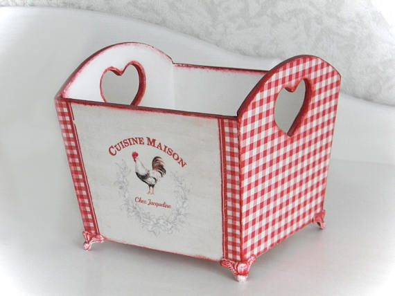 Rustic Wooden Storage Basket wood Kitchen box Red and white