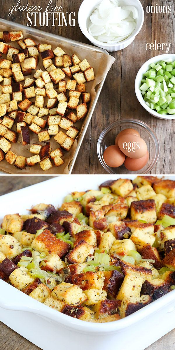 To make the very best gluten free stuffing of your life this holiday season, you only need a few important elements: toasted bread cubes, onions, celery, eggs, herbs and chicken stock. From there, make it your own!
