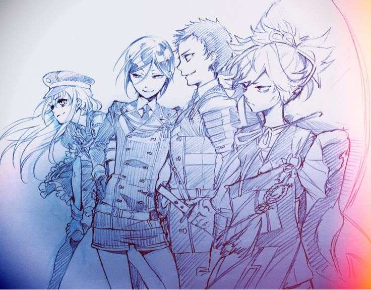 Touken Ranbu fanart of Midare, Yagen, Atsushi, and Sayo drawn by Yana Toboso (The author of Black Butler)