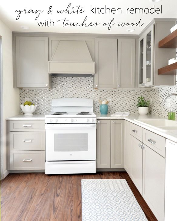 gray & white kitchen remodel with touches of wood @centsationalgrl