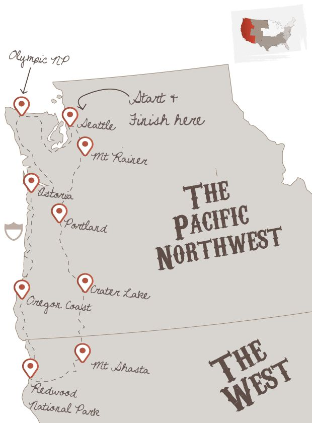 PNW road trip. I would probably drive a little further down in to Cali and go to Napa Valley, San Fran, and maybe further south to a nice beach! :)