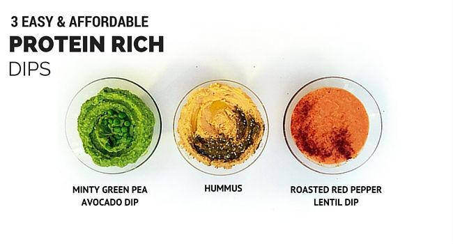 3 Easy and Affordable Protein Rich Dips  1. Hummus 2. Mint Pea Avo 3. Roasted Red Pepper Lentil  Get the #recipes on www.nutreats.co.za  #healthy #glutenfree #vegan