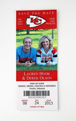 Kansas City Chiefs - Football - Wedding Save the Date Ticket