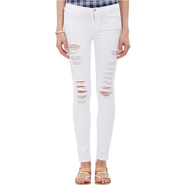 FRAME Women's Le Color Ripped Skinny Jeans (€170) ❤ liked on Polyvore featuring jeans, nude, mid rise skinny jeans, frame jeans, slim fit skinny jeans, destructed skinny jeans and destructed jeans